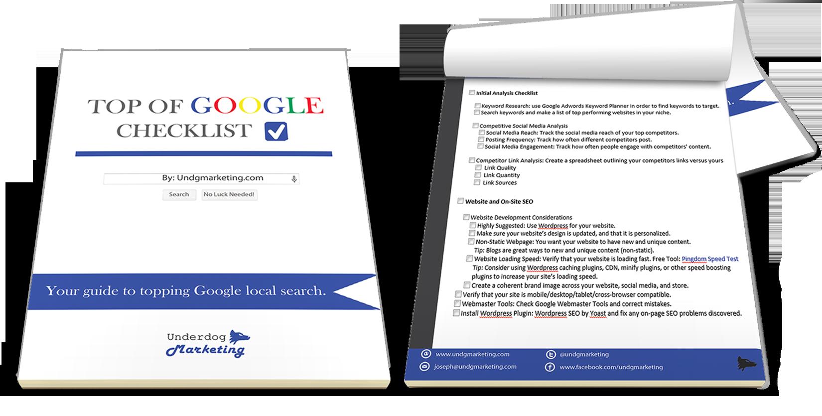 Top of Google Checklist – Learn More - Underdog Marketing
